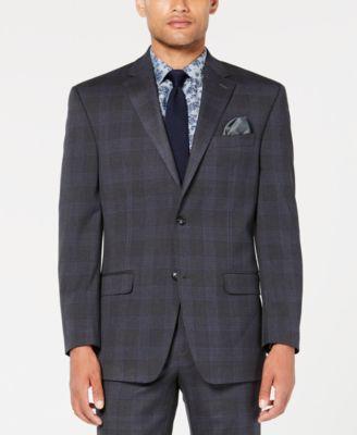 Men's Classic-Fit Stretch Gray/Blue Plaid Suit Jacket