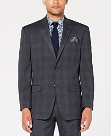 Men's Classic-Fit Stretch Gray/Blue Plaid Suit Jacket