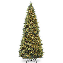 National Tree 12' Carolina Pine Slim Wrapped Tree with  Flocked Cones & Clear Lights