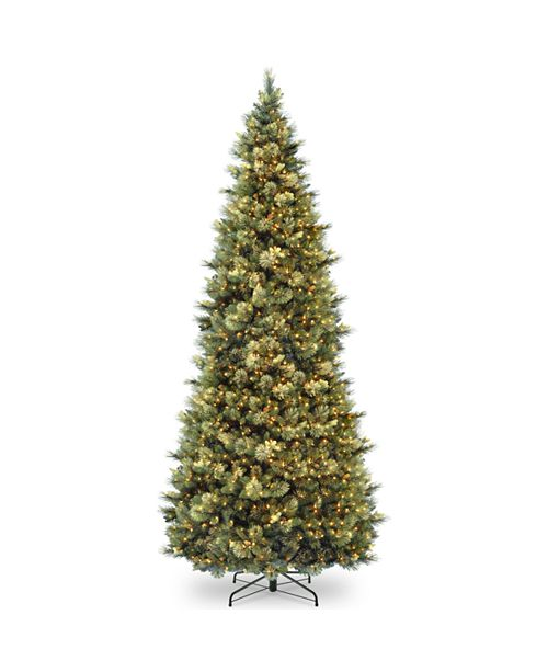 National Tree Company National Tree 12' Carolina Pine Slim Wrapped Tree with  Flocked Cones & Clear Lights