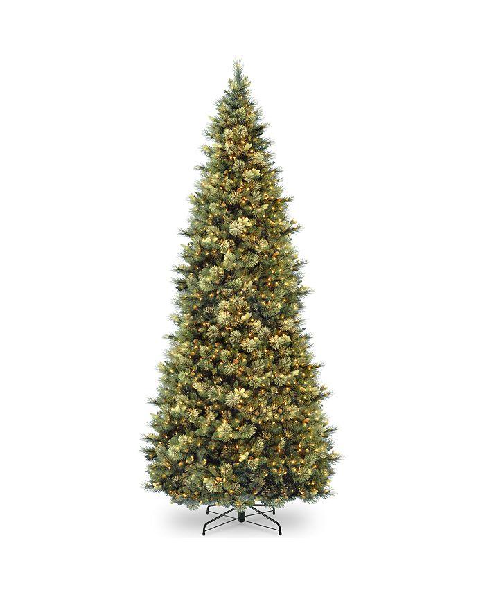 National Tree Company - National Tree 12' Carolina Pine Slim Wrapped Tree with  Flocked Cones & Clear Lights