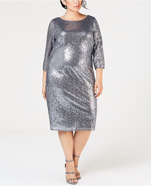 Adrianna Papell Plus Size Sequin Sheath Dress - Dresses - Women - Macy\'s