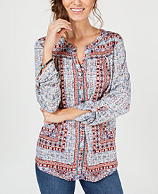 Style & Co Printed Button-Front Shirt, Created for Macy's