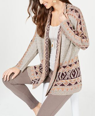 Style Co Geometric Jacquard Knit Sweater Coat Created For Macys