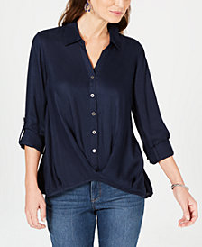 Style & Co Twist-Front Roll-Tab Shirt, Created for Macy's