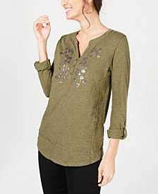 Style & Co Cotton Flower-Embellished Top, Created for Macy's