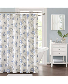 "Décor Studio Harbor Printed 72"" x 72"" Faux-Linen Shower Curtain, Created for Macy's"
