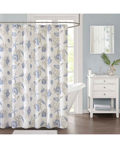 JLA Home Harbor Printed 72 X Faux Linen Shower Curtain Created