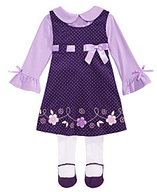 Blueberi Boulevard Baby Girls 3-Pc. Floral Jumper, Shirt & Tights Set