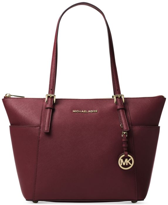Oxblood Gold Jet Set Large Crossgrain Leather Tote Bag One Size