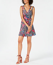GUESS Mixed-Floral Print Fit & Flare Dress
