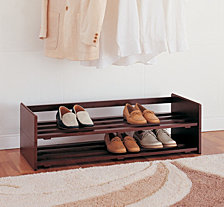 Organize it All 2 Tier Mahogany Stackable Shoe Rack