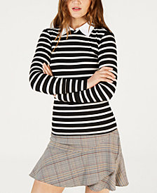 Trina Turk Layered-Look Striped Sweater