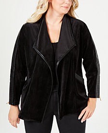 Calvin Klein Plus Size Faux-Leather-Trim Open-Front Jacket