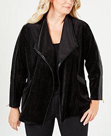 Calvin Klein Plus Size Faux-Leather-Trim Open-Front Jacket