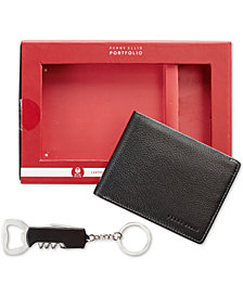 Perry Ellis Men's Leather Passcase &  Corkscrew Keychain