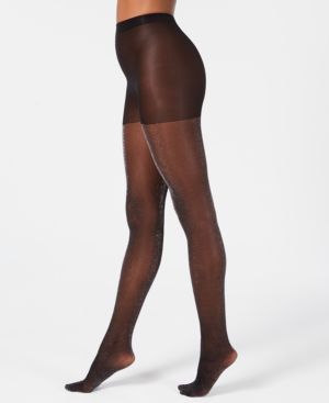 Control-Top Lurex Tight in Black/Silver from DKNY