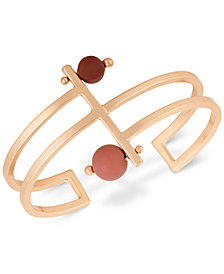Lucky Brand Rose Gold-Tone Painted Bead Openwork Cuff Bracelet