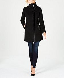 Calvin Klein Faux-Leather-Trim Bouclé Coat