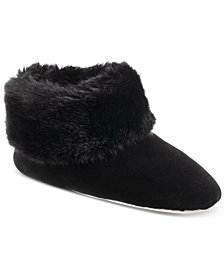 Isotoner Signature Women's Velour & Faux Fur Sabrine Bootie Slippers