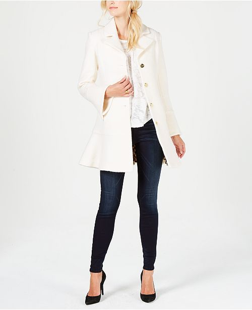 a50995b543eb8 ... Laundry by Shelli Segal Skirted Boucle Wool-Blend Single-Breasted Coat  ...