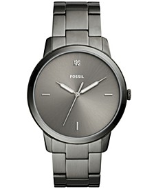 Men's Minimalist Diamond Smoke Stainless Steel Bracelet Watch 44mm