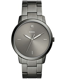 Fossil Men's Minimalist Diamond Smoke Stainless Steel Bracelet Watch 44mm