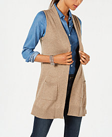 Karen Scott Open-Front Sweater Vest, Created for Macy's