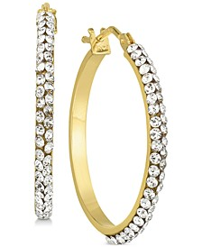 Swarovski Crystal Hoop Earrings in 14k Gold and White Gold
