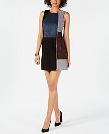 Ivanka Trump Patchwork Faux-Suede Dress
