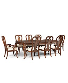 Closeout! Bordeaux 9-Piece Dining Room Set, Created for Macy's,  (Dining Table, 6 Queen Anne Side Chairs & 2 Queen Anne Arm Chairs)