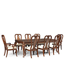 Bordeaux 9-Piece Dining Room Furniture Set, Created for Macy's,  (Dining Table, 6 Queen Anne Side Chairs & 2 Queen Anne Arm Chairs)