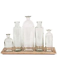 6-Pc. Wood Tray & Glass Bottle Vases