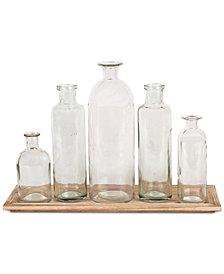 6-Pc. Wood Tray & Glass Bottle Vases