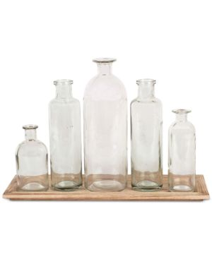 Image of 6-Pc. Wood Tray & Glass Bottle Vases