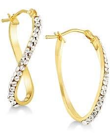 Swarovski Crystal Twist Hoop Earrings in 14k Gold & White Gold