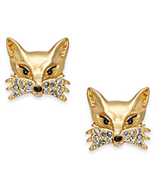kate spade new york Gold-Tone Pavé Fox Stud Earrings