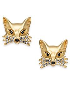 kate spade new york Gold-Tone Pavé Fox Stud Earrings