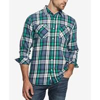 Weatherproof Vintage Men's Burnout Plaid Flannel Utility Shirt