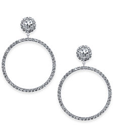 kate spade new york Silver-Tone Crystal Door Knocker Drop Hoop Earrings