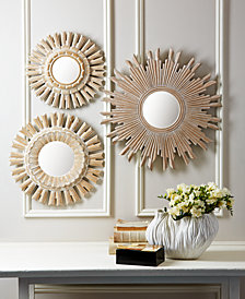 Solstice Set of 3 Handcarved Round Wall Mirrors with WhiteWashed Finish Includes 3 sizes