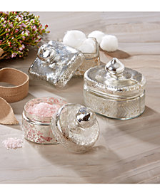 Pentimento Set of 3 Vintage Trinket Boxes with Antiqued Pure Silver Finish Includes 3 Shapes: Oval, Round, Square