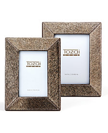 Natural Cowhide Set of 2 Gray Photo Frames Includes 2 Sizes