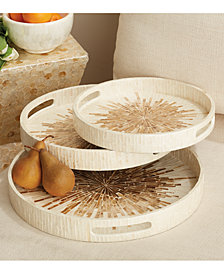 Sunburst Set of 3 Mother of Pearl Round Trays