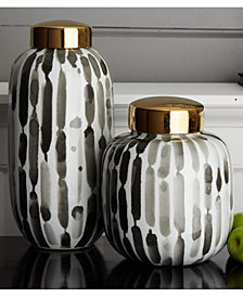 Brush Strokes Set of 2 Black and White Covered Jars with Gold Metallic Lid