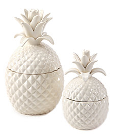 Set of 2 Ceramic Pineapple Hospitality Jars with Lid Includes 2 Sizes