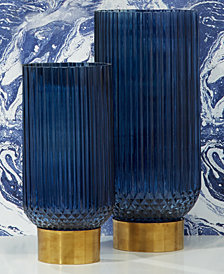 Sullivan Set of 2 Blue Ribbed Candleholder, Vases with Brass Finish Base