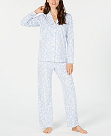 Charter Club Petite Printed Fleece Pajama Set, Created for Macy's