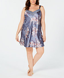 Thalia Sodi Plus Size Printed Lace-Trim Nightgown, Created for Macy's