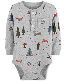 Carter's Baby Boys Wilderness-Print Cotton Henley Bodysuit